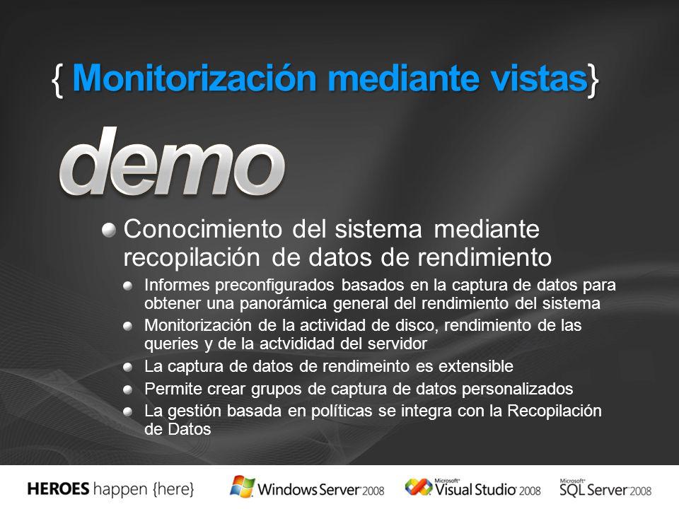 { Monitorización mediante vistas} Conocimiento del sistema mediante recopilación de datos de rendimiento Informes preconfigurados basados en la captur