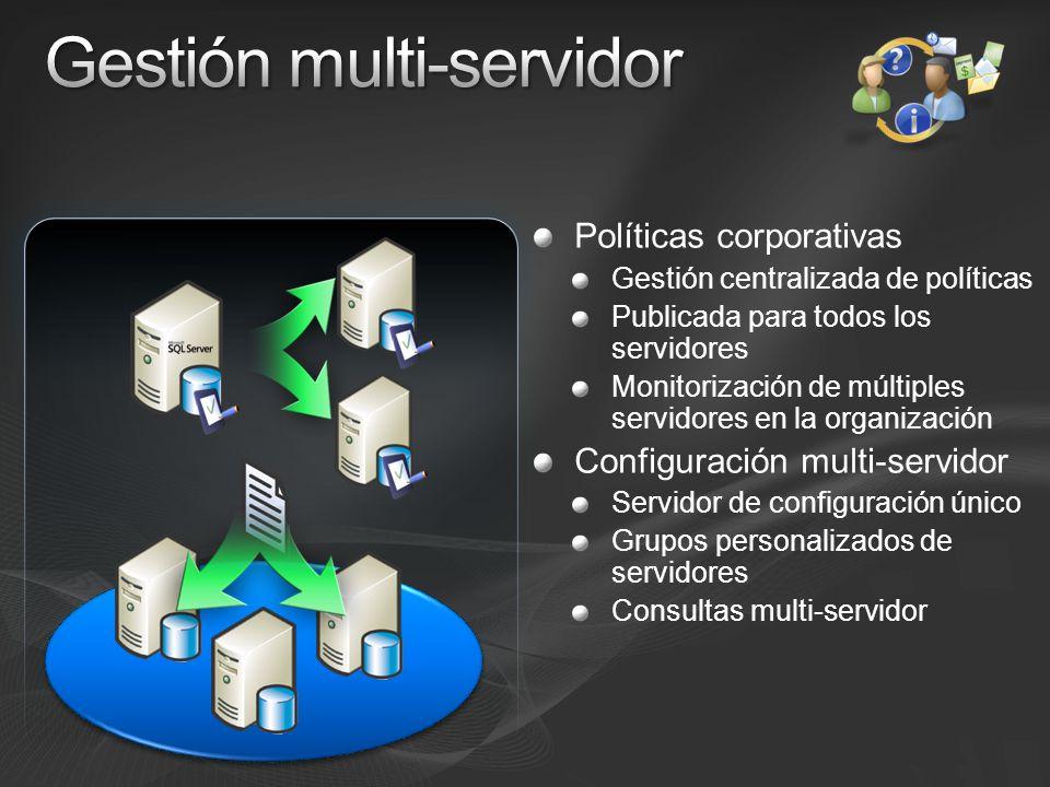 Políticas corporativas Gestión centralizada de políticas Publicada para todos los servidores Monitorización de múltiples servidores en la organización