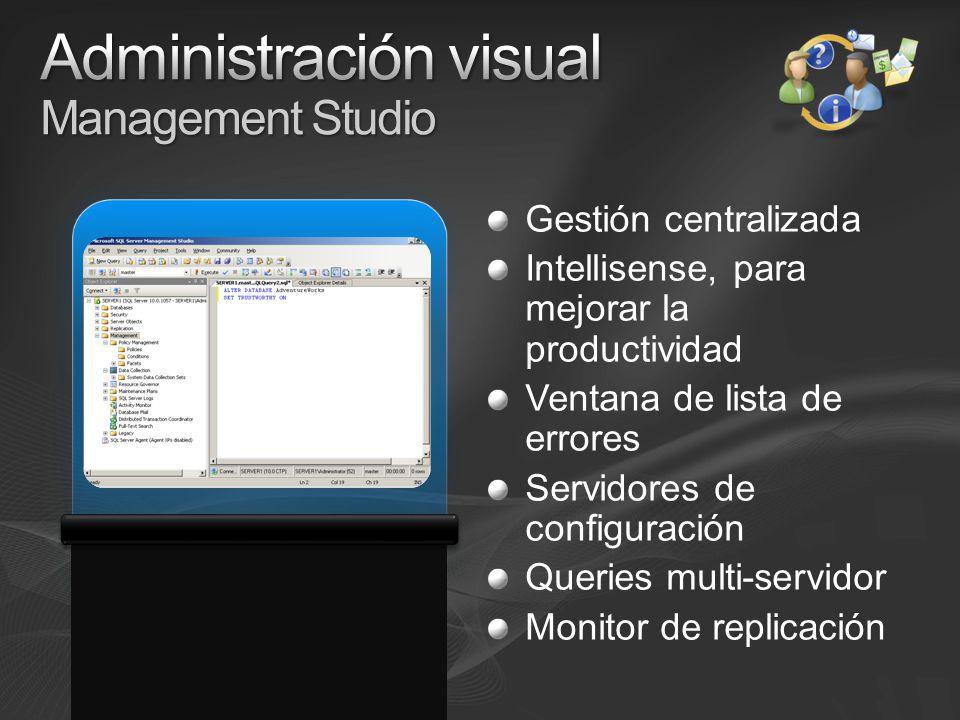 Gestión centralizada Intellisense, para mejorar la productividad Ventana de lista de errores Servidores de configuración Queries multi-servidor Monitor de replicación