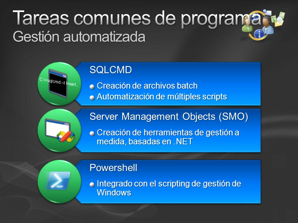 SQLCMD Creación de archivos batch Automatización de múltiples scripts Server Management Objects (SMO) Creación de herramientas de gestión a medida, basadas en.NET Powershell Integrado con el scripting de gestión de Windows