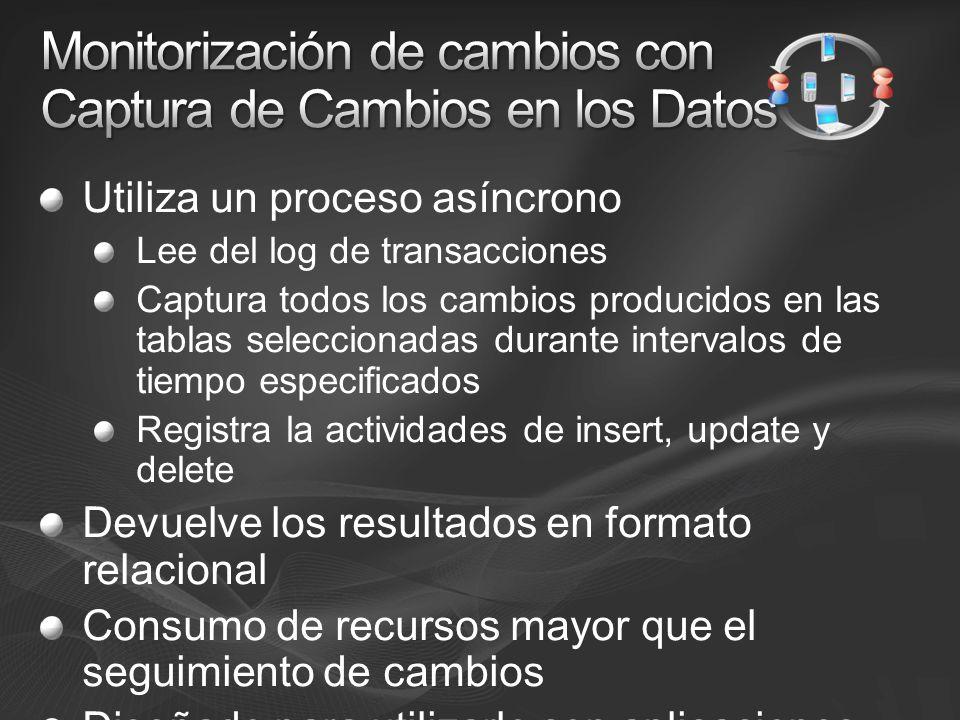Utiliza un proceso asíncrono Lee del log de transacciones Captura todos los cambios producidos en las tablas seleccionadas durante intervalos de tiempo especificados Registra la actividades de insert, update y delete Devuelve los resultados en formato relacional Consumo de recursos mayor que el seguimiento de cambios Diseñado para utilizarlo con aplicaciones ETL
