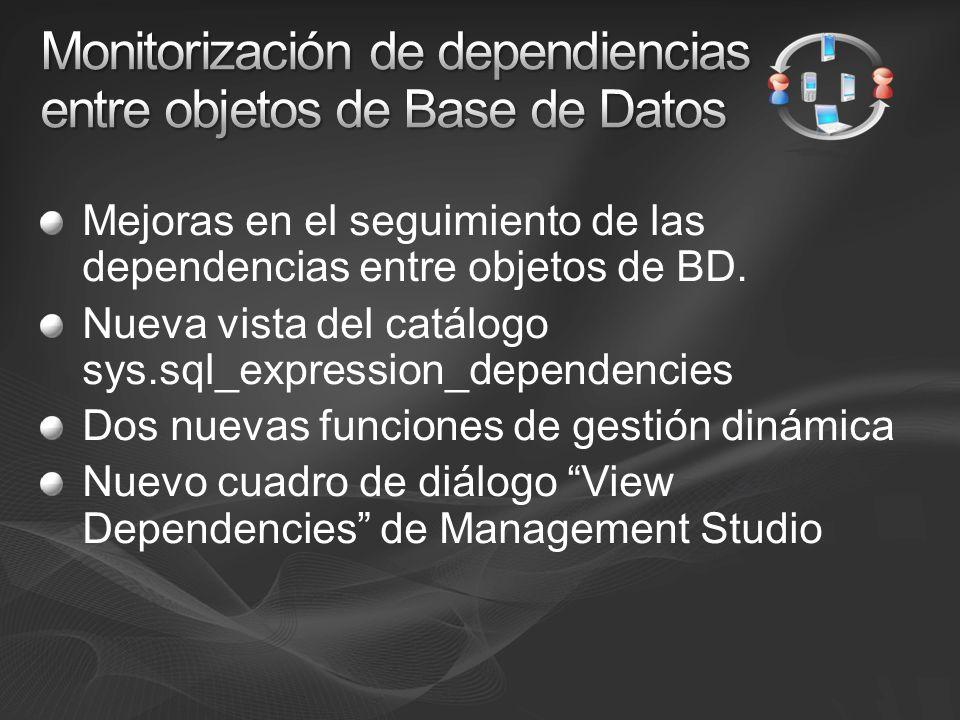 Mejoras en el seguimiento de las dependencias entre objetos de BD. Nueva vista del catálogo sys.sql_expression_dependencies Dos nuevas funciones de ge