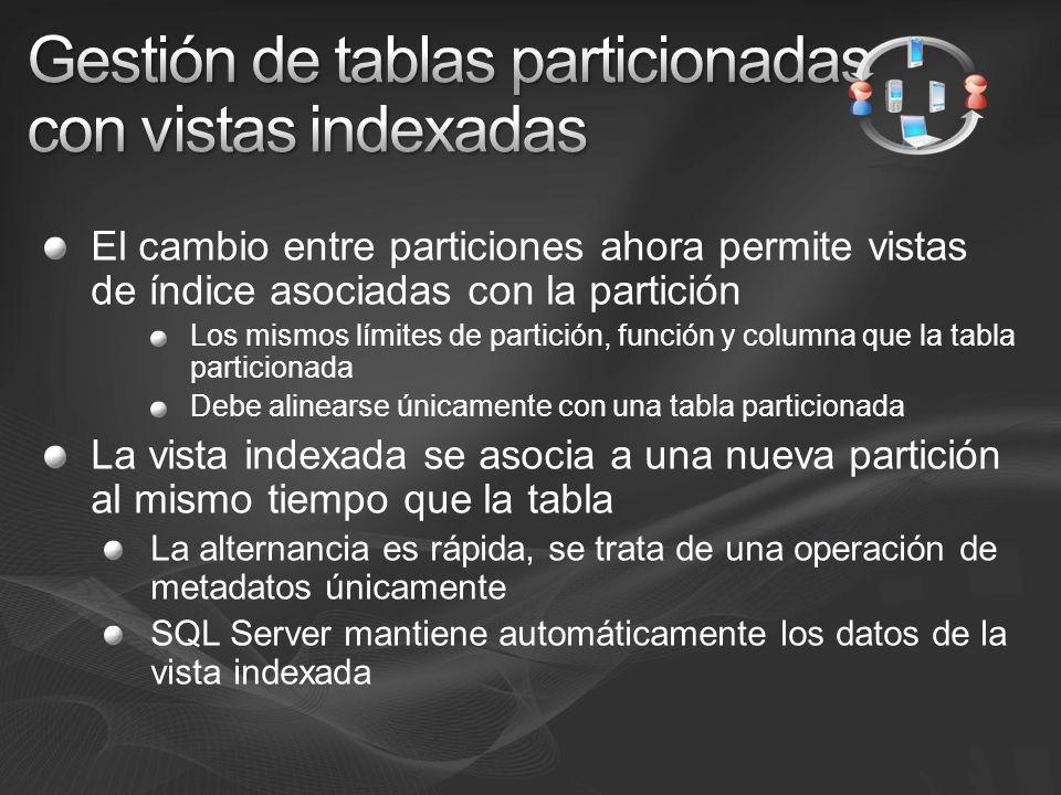 El cambio entre particiones ahora permite vistas de índice asociadas con la partición Los mismos límites de partición, función y columna que la tabla particionada Debe alinearse únicamente con una tabla particionada La vista indexada se asocia a una nueva partición al mismo tiempo que la tabla La alternancia es rápida, se trata de una operación de metadatos únicamente SQL Server mantiene automáticamente los datos de la vista indexada