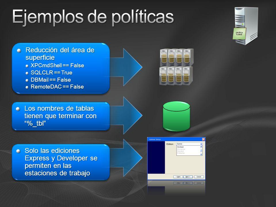 Capacidad de Gestión Gestión de múltiples servidores Administración visual Tareas de programa Definición de configuraciones Automatización del cumplimiento de normativas Integración con la Gestión de Sistemas Definición de configuraciones Automatización del cumplimiento de normativas Integración con la Gestión de Sistemas