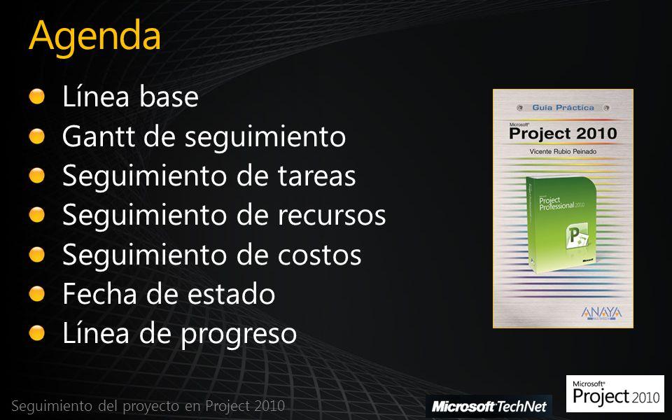 Antes de guardar la línea base Seguimiento del proyecto en Project 2010