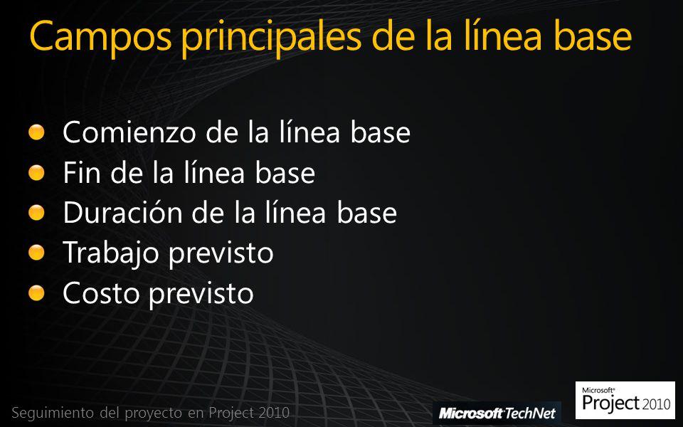 Guardar la línea base Seguimiento del proyecto en Project 2010