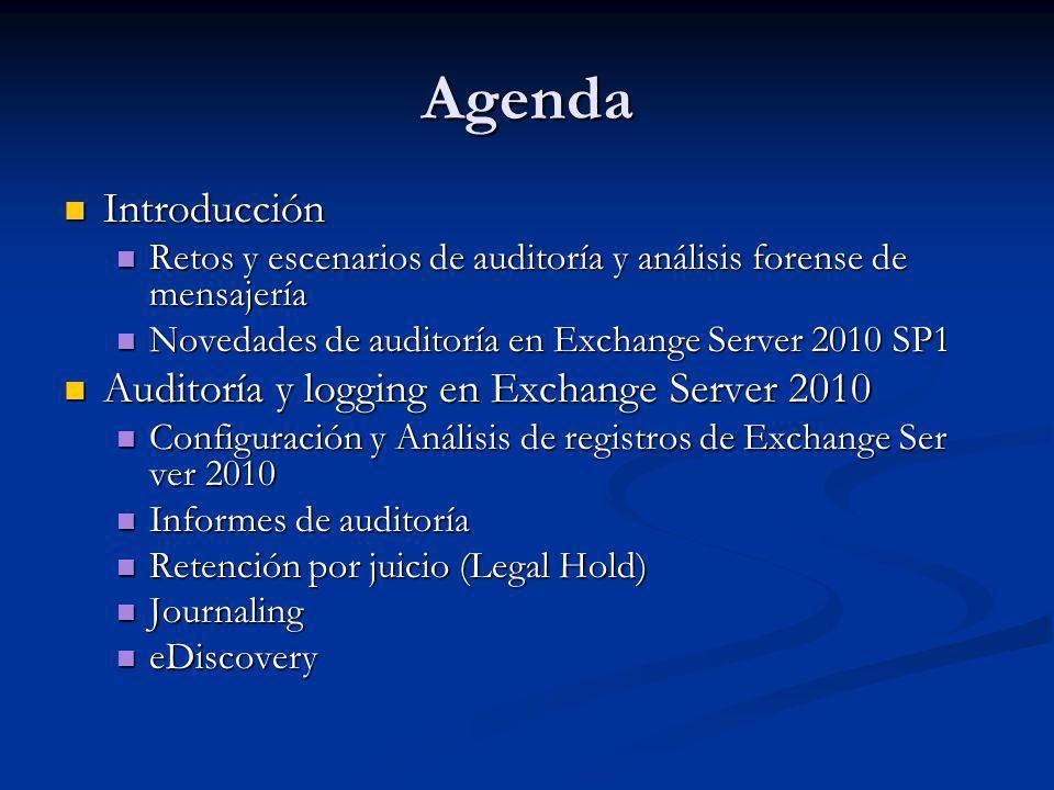 Agenda Introducción Introducción Retos y escenarios de auditoría y análisis forense de mensajería Retos y escenarios de auditoría y análisis forense d