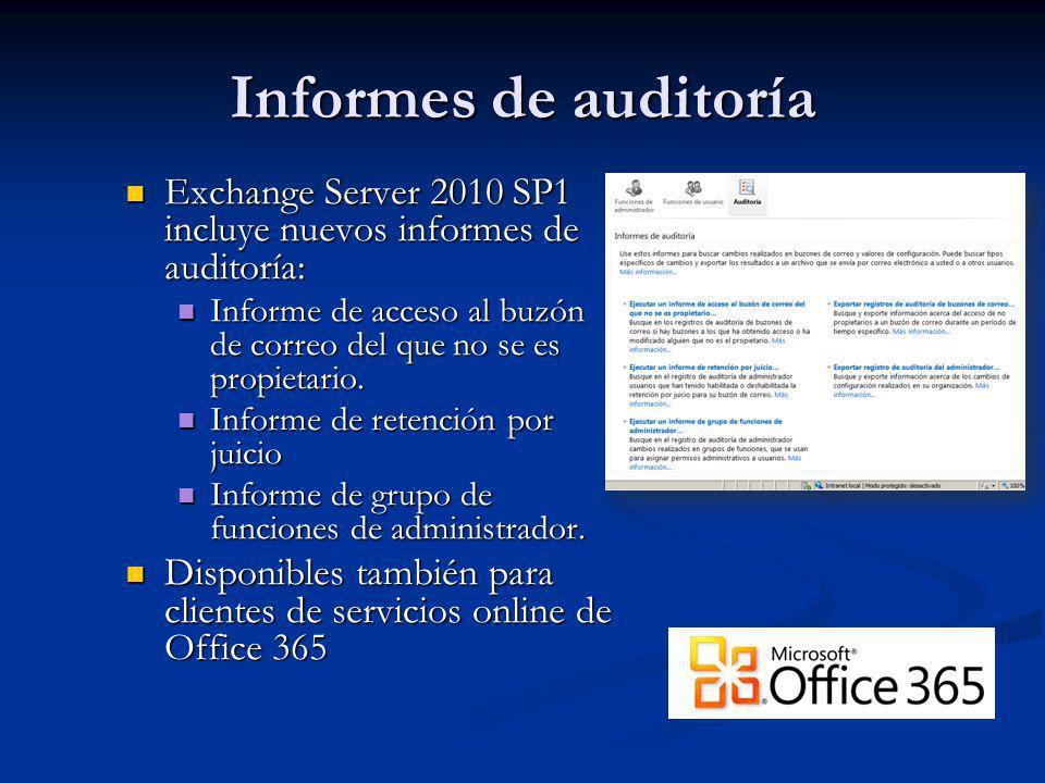 Informes de auditoría Exchange Server 2010 SP1 incluye nuevos informes de auditoría: Exchange Server 2010 SP1 incluye nuevos informes de auditoría: In