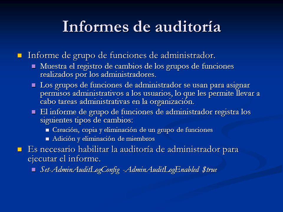 Informes de auditoría Informe de grupo de funciones de administrador. Informe de grupo de funciones de administrador. Muestra el registro de cambios d