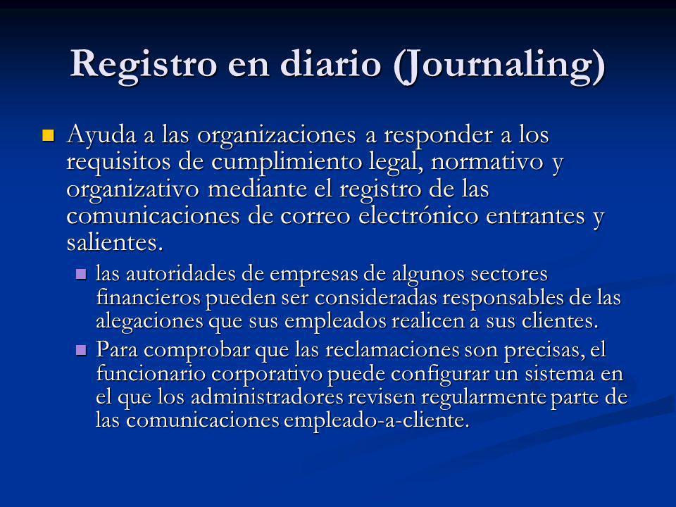 Registro en diario (Journaling) Ayuda a las organizaciones a responder a los requisitos de cumplimiento legal, normativo y organizativo mediante el re