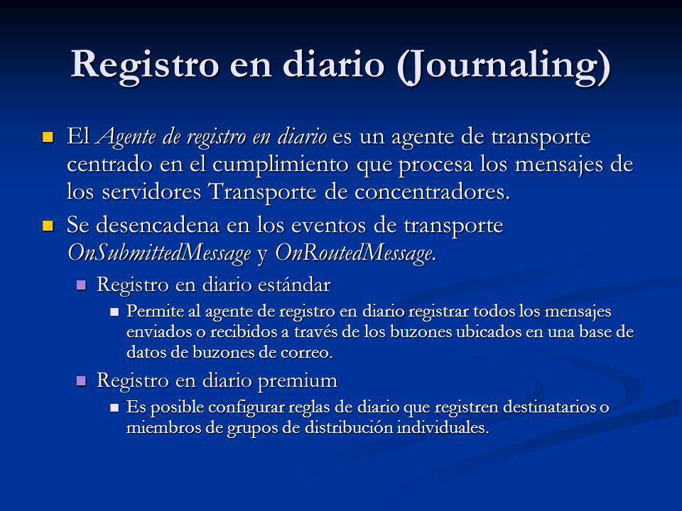 Registro en diario (Journaling) El Agente de registro en diario es un agente de transporte centrado en el cumplimiento que procesa los mensajes de los