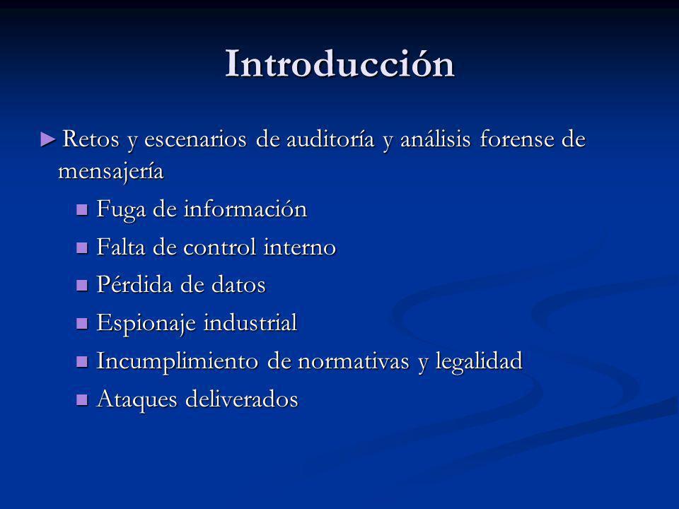 Introducción Retos y escenarios de auditoría y análisis forense de mensajería Retos y escenarios de auditoría y análisis forense de mensajería Fuga de