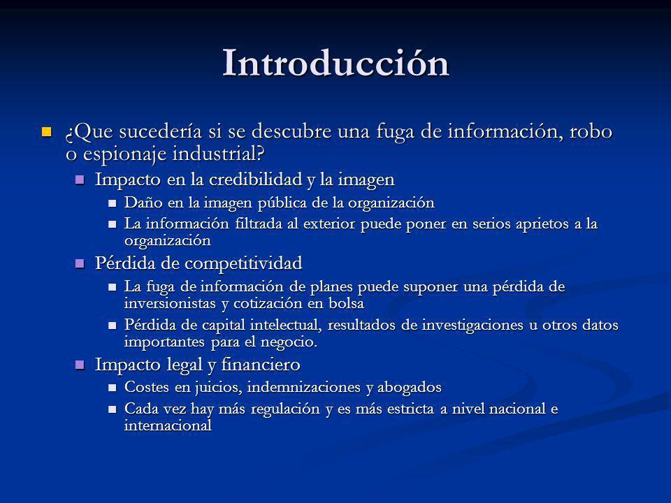 Introducción ¿Que sucedería si se descubre una fuga de información, robo o espionaje industrial? ¿Que sucedería si se descubre una fuga de información