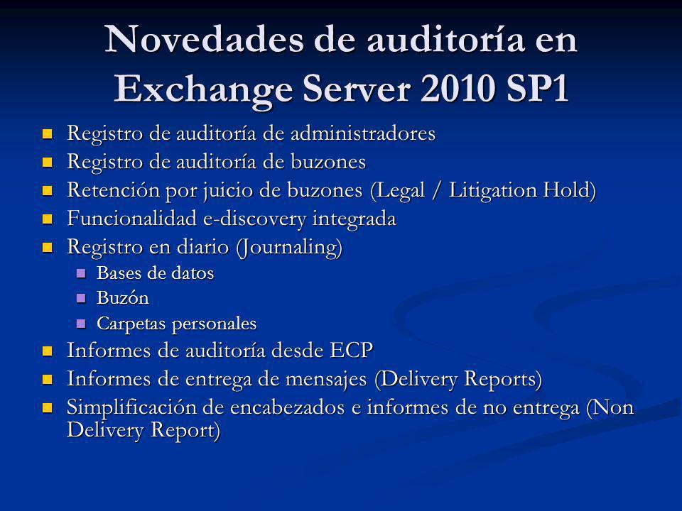 Registro de auditoría de administradores Registro de auditoría de administradores Registro de auditoría de buzones Registro de auditoría de buzones Re