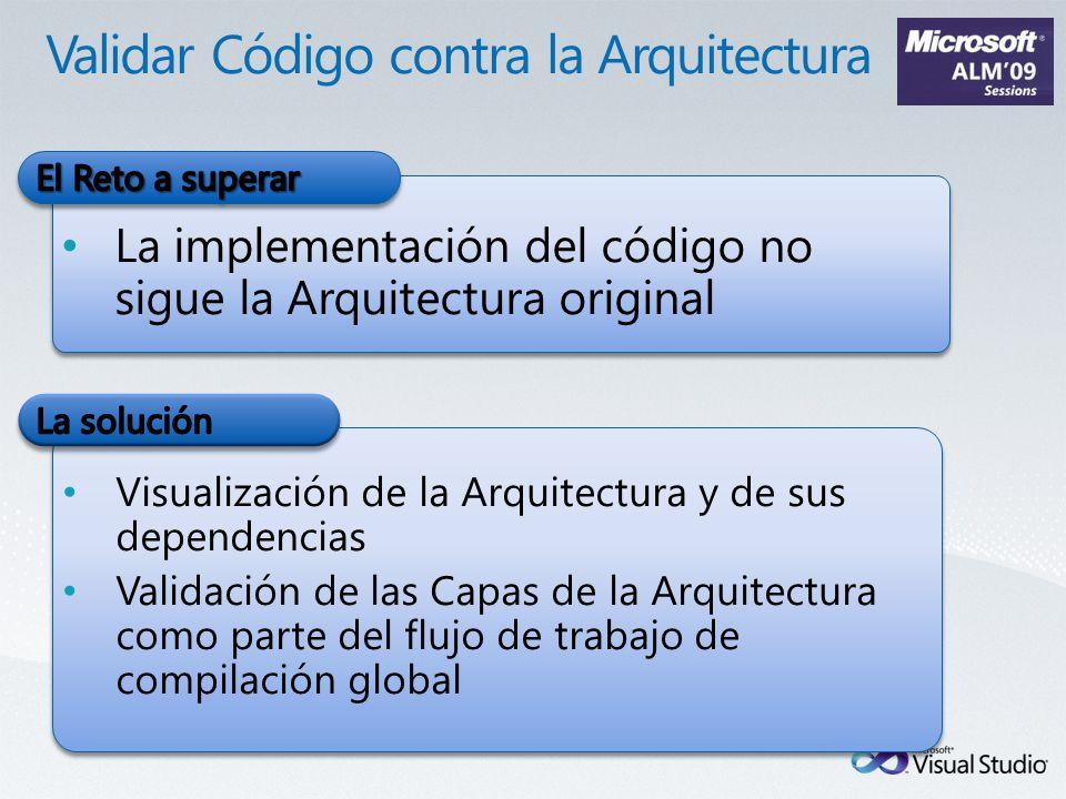 La implementación del código no sigue la Arquitectura original Visualización de la Arquitectura y de sus dependencias Validación de las Capas de la Arquitectura como parte del flujo de trabajo de compilación global