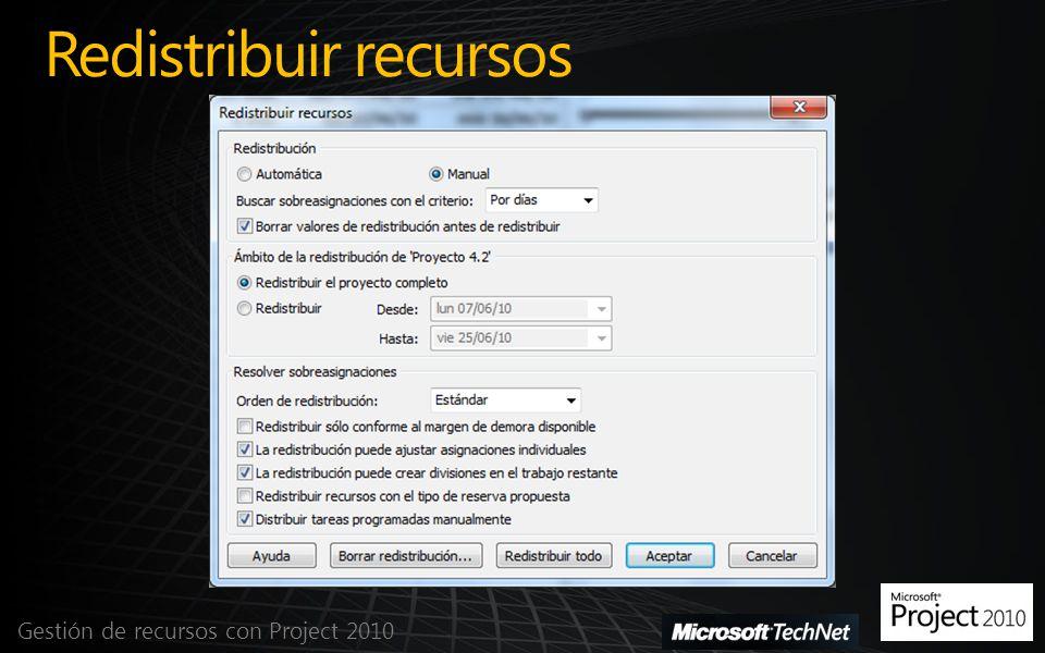 Redistribuir recursos Gestión de recursos con Project 2010