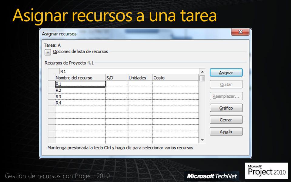 Asignar recursos a una tarea Gestión de recursos con Project 2010