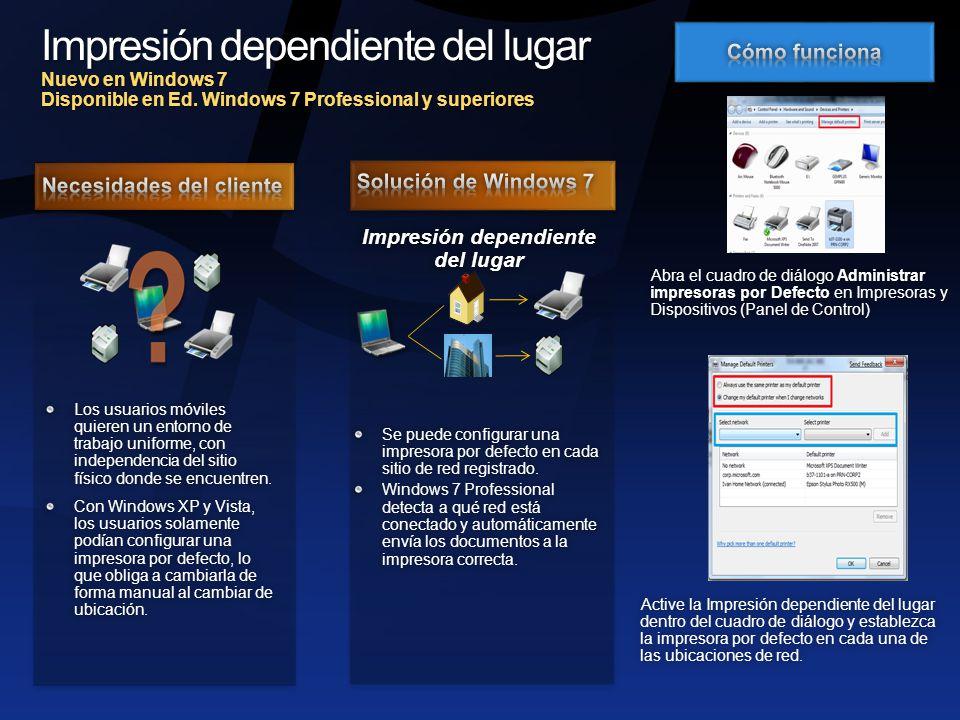 Impresión dependiente del lugar Nuevo en Windows 7 Disponible en Ed.