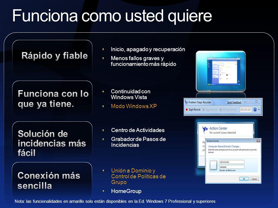 Modo Windows XP Nuevo en Windows 7 Disponible en Edición Windows 7 Professional y superiores Continuidad de negocio: ejecute muchas aplicaciones de productividad para Windows XP en Windows 7 Ahorro: amplíe la vida de sus actuales aplicaciones para Windows XP.