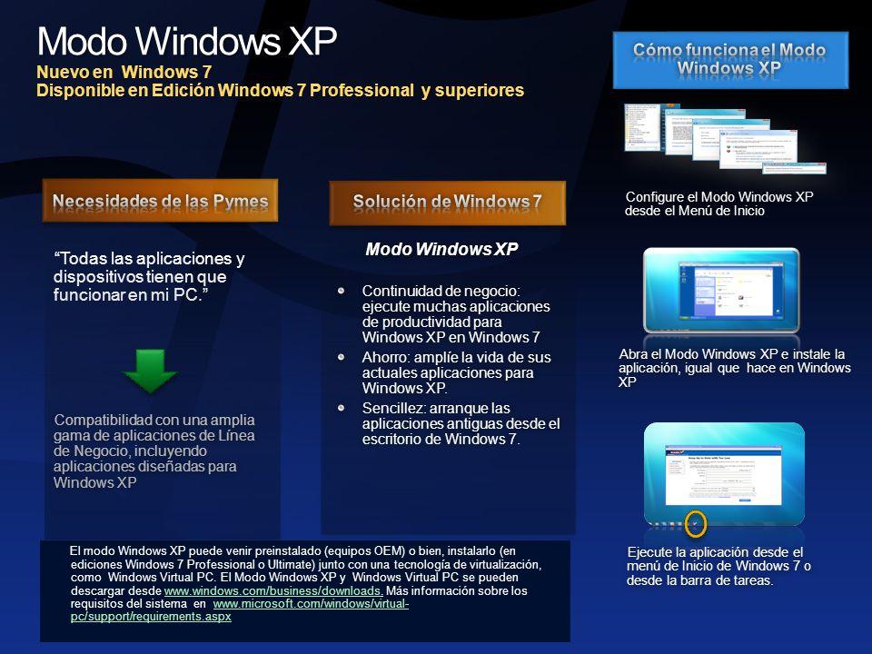 Modo Windows XP (Cont.) Alineamiento de Funcionalidades con el Plan de SKU de Windows 7 SKUs de Win7HBHPProUltEnt Modo Windows XP gratuito Windows Virtual PC Necesario: Intel VT o AMD-V.