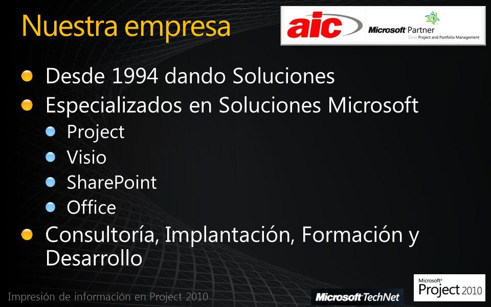Informes visuales Impresión de información en Project 2010