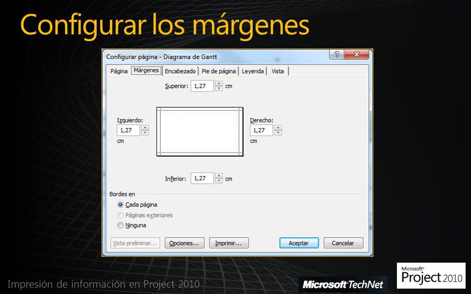 Configurar los márgenes Impresión de información en Project 2010