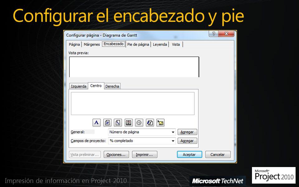 Configurar el encabezado y pie Impresión de información en Project 2010