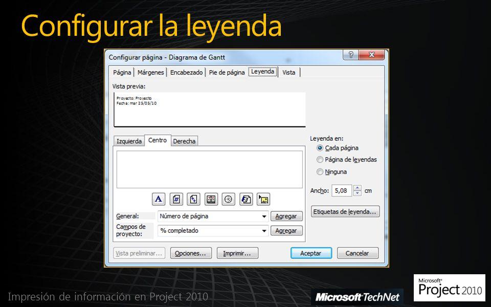 Configurar la leyenda Impresión de información en Project 2010