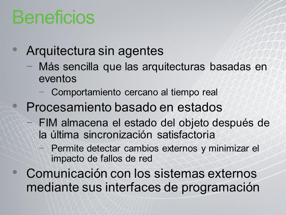 Beneficios Arquitectura sin agentes Más sencilla que las arquitecturas basadas en eventos Comportamiento cercano al tiempo real Procesamiento basado e