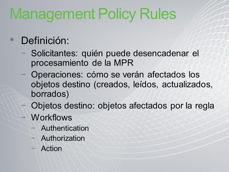 Management Policy Rules Definición: Solicitantes: quién puede desencadenar el procesamiento de la MPR Operaciones: cómo se verán afectados los objetos