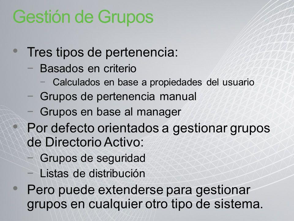 Gestión de Grupos Tres tipos de pertenencia: Basados en criterio Calculados en base a propiedades del usuario Grupos de pertenencia manual Grupos en b