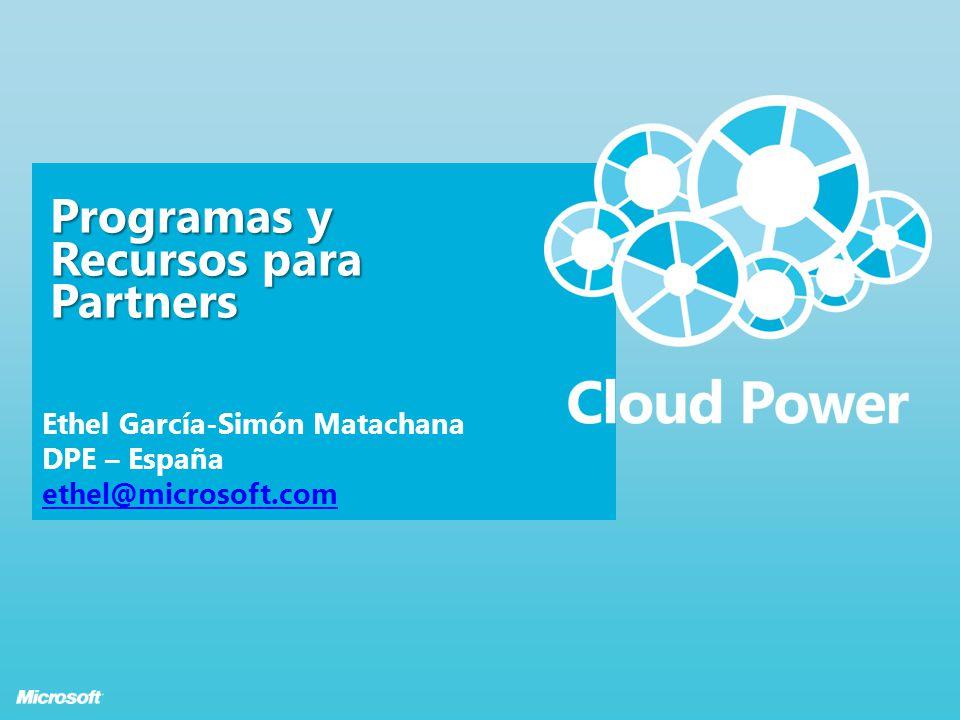 Página 1 Programas y Recursos para Partners Ethel García-Simón Matachana DPE – España ethel@microsoft.com