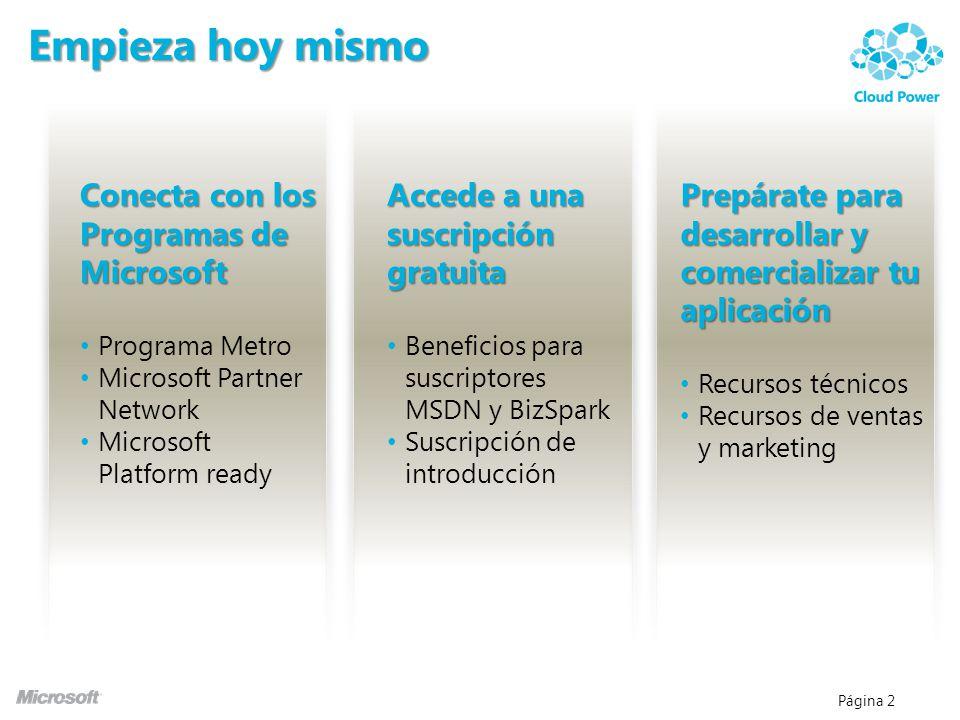 Página 2 Empieza hoy mismo Conecta con los Programas de Microsoft Programa Metro Microsoft Partner Network Microsoft Platform ready Accede a una suscr