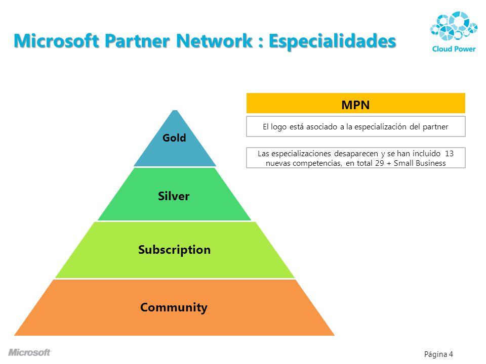 Página 4 Microsoft Partner Network : Especialidades MPN El logo está asociado a la especialización del partner Las especializaciones desaparecen y se