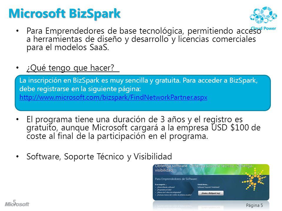 Página 5 Microsoft BizSpark Para Emprendedores de base tecnológica, permitiendo acceso a herramientas de diseño y desarrollo y licencias comerciales p
