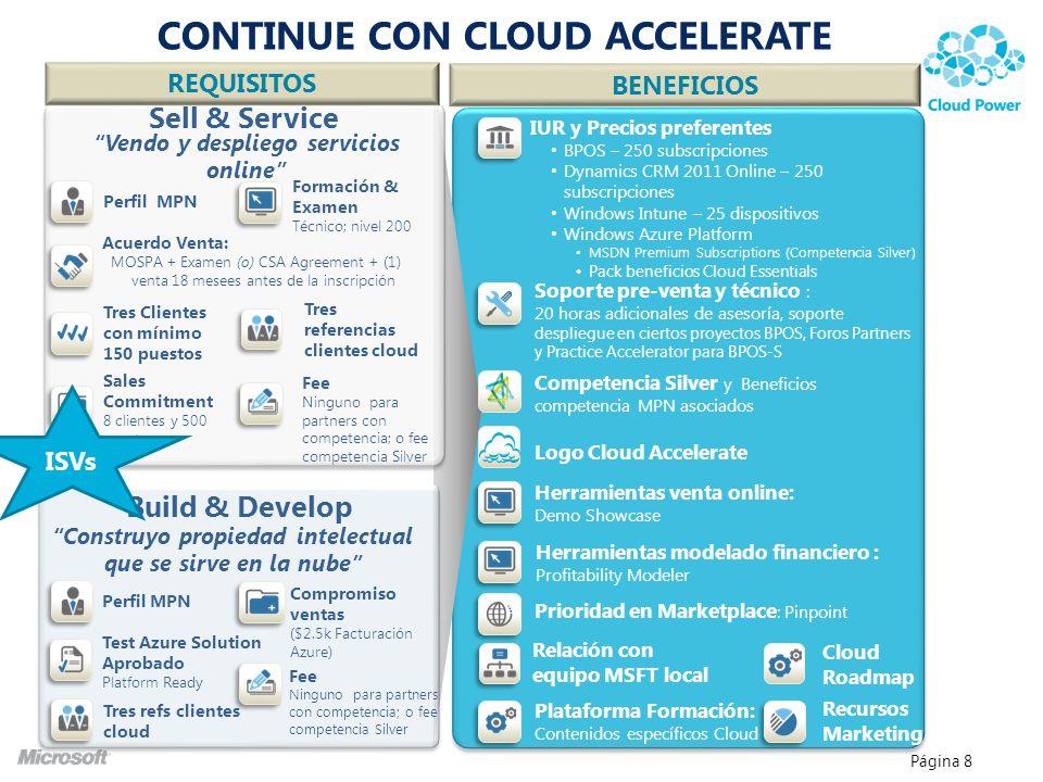 Página 8 Sell & Service Build & Develop Construyo propiedad intelectual que se sirve en la nube Vendo y despliego servicios online Acuerdo Venta: MOSP