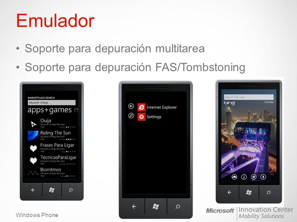Windows Phone Emulador – Acelerómetro El botón abre las herramientas del emulador