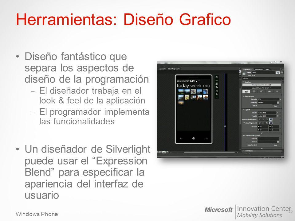 Windows Phone Herramientas: Diseño Grafico Diseño fantástico que separa los aspectos de diseño de la programación – El diseñador trabaja en el look & feel de la aplicación – El programador implementa las funcionalidades Un diseñador de Silverlight puede usar el Expression Blend para especificar la apariencia del interfaz de usuario 25