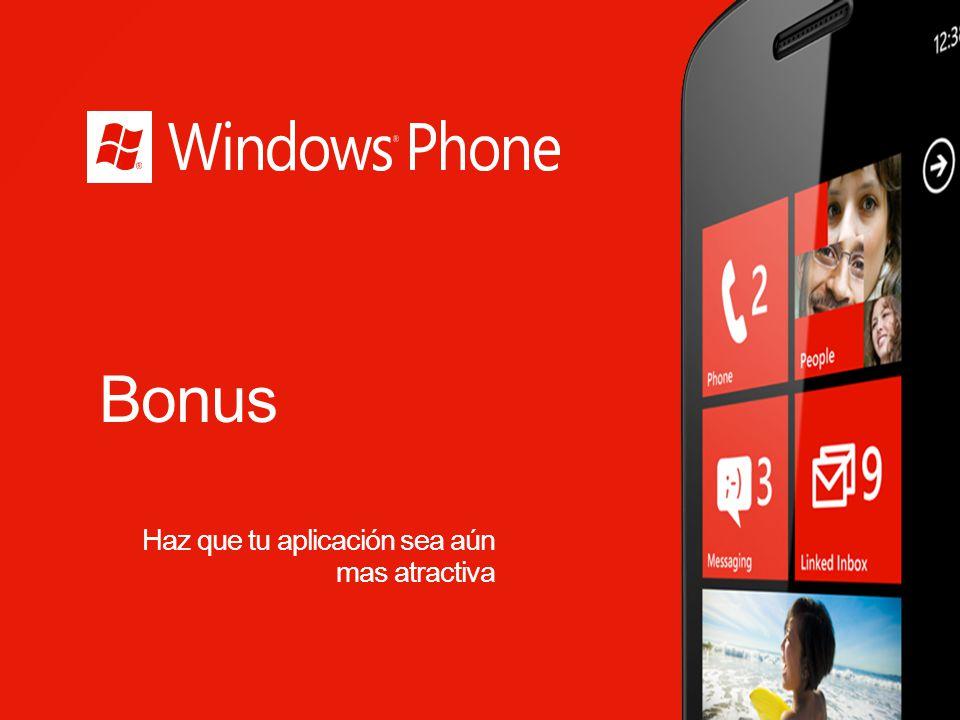 Windows Phone Silverlight Toolkit for Windows Phone Desarrollado por el equipo de Microsoft Silverlight El Toolkit añade montones de controles adicionales incluyendo codigo fuente open source, ejemplos, documentación y tiempo de soporte de diseño para controles.