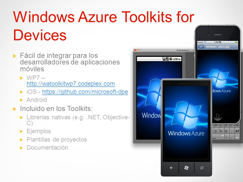 Windows Azure Toolkits for Devices Fácil de integrar para los desarrolladores de aplicaciones móviles WP7 – http://watoolkitwp7.codeplex.com http://wa