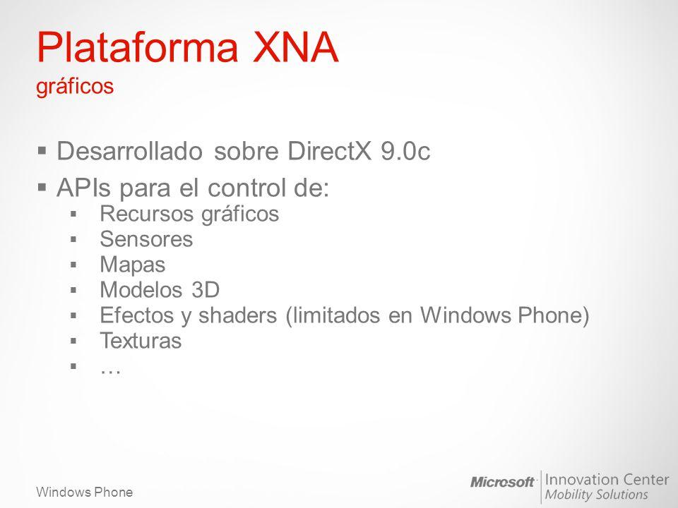 Windows Phone Plataforma XNA gráficos Desarrollado sobre DirectX 9.0c APIs para el control de: Recursos gráficos Sensores Mapas Modelos 3D Efectos y shaders (limitados en Windows Phone) Texturas …