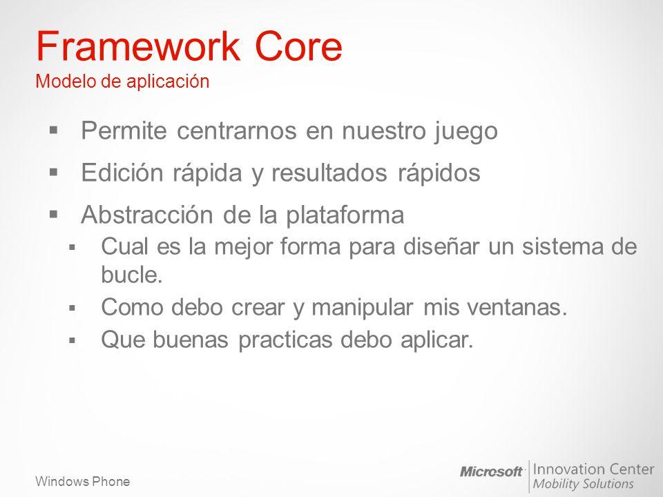 Windows Phone Framework Core Modelo de aplicación Permite centrarnos en nuestro juego Edición rápida y resultados rápidos Abstracción de la plataforma Cual es la mejor forma para diseñar un sistema de bucle.