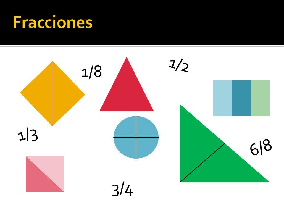 Formas enteras: Formas divididas en dos partes iguales: Cada parte es ½ de la entera.