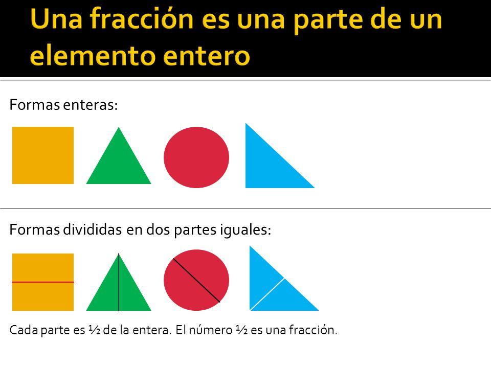 Formas enteras: Formas divididas en dos partes iguales: Cada parte es ½ de la entera. El número ½ es una fracción.