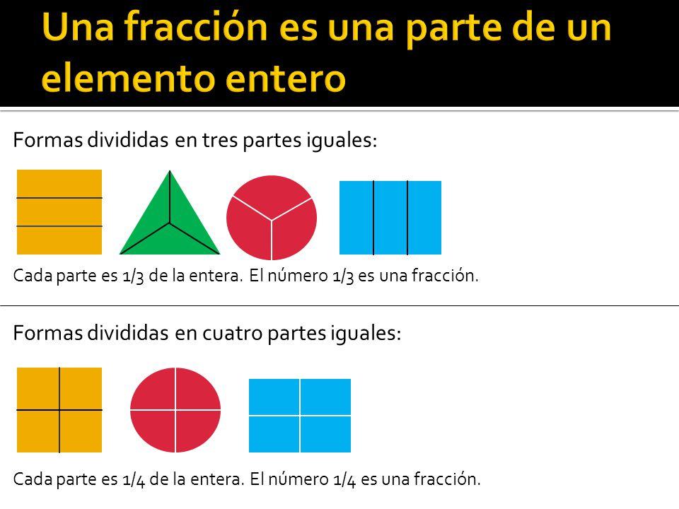 Formas divididas en tres partes iguales: Cada parte es 1/3 de la entera. El número 1/3 es una fracción. Formas divididas en cuatro partes iguales: Cad