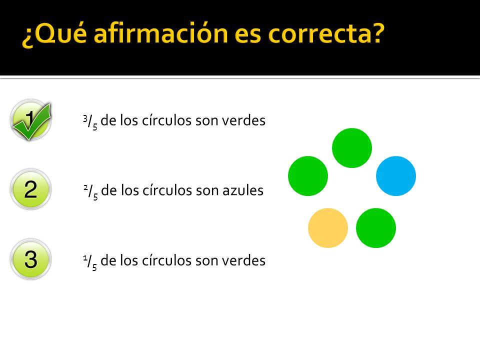 3 / 5 de los círculos son verdes 2 / 5 de los círculos son azules 1 / 5 de los círculos son verdes ¿Cuál de las siguientes afirmaciones describe los c