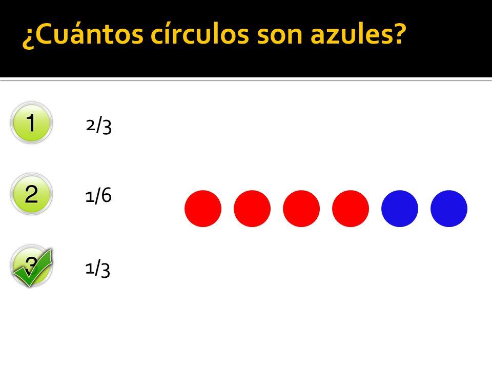 2/3 1/6 1/3 ¿Cuántos círculos son azules?