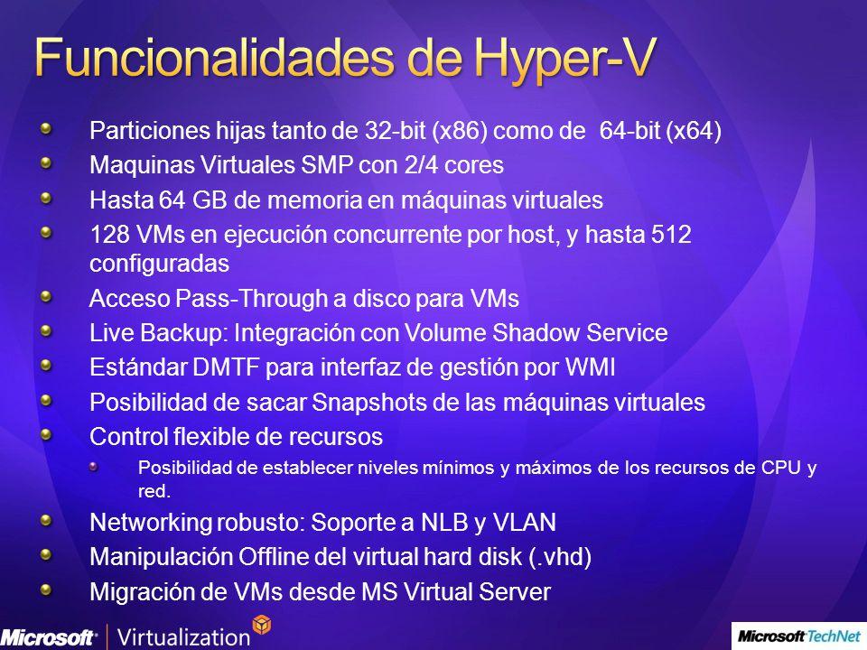Particiones hijas tanto de 32-bit (x86) como de 64-bit (x64) Maquinas Virtuales SMP con 2/4 cores Hasta 64 GB de memoria en máquinas virtuales 128 VMs