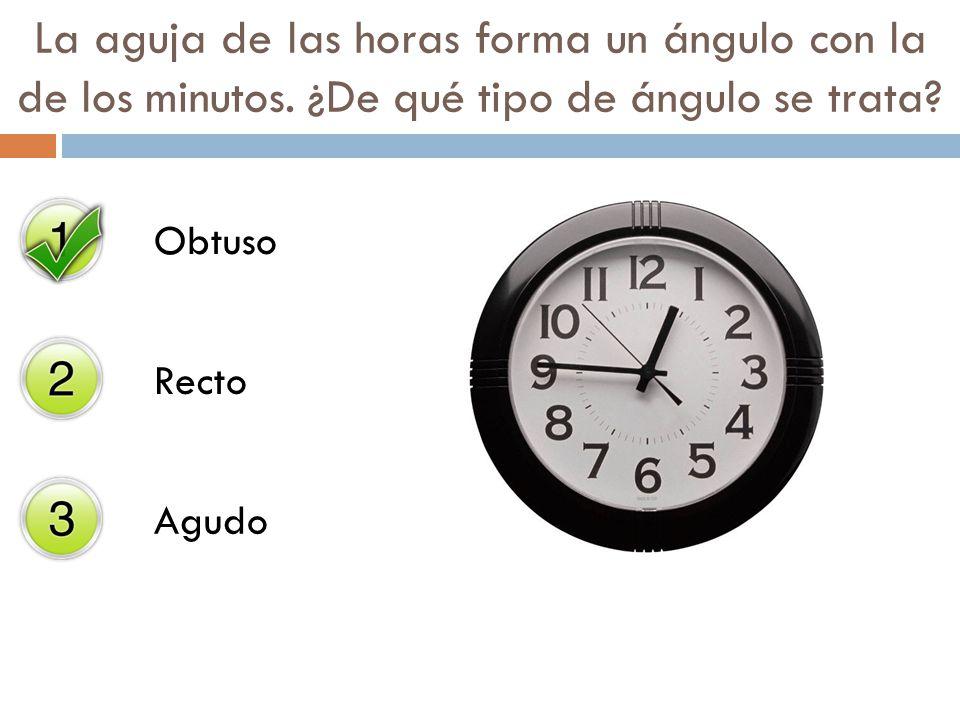 Obtuso Recto Agudo La aguja de las horas forma un ángulo con la de los minutos. ¿De qué tipo de ángulo se trata?