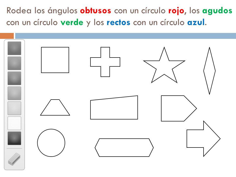 Rodea los ángulos obtusos con un círculo rojo, los agudos con un círculo verde y los rectos con un círculo azul.